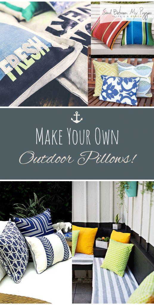 Make Your Own Outdoor Pillows! Outdoor Pillow Projects, No Sew Pillow Projects, Pillow Projects, Make Your Own Pillows, How to Make Your Own Pillows, Patio Pillow Projects, DIY Crafts, Outdoor Crafts, Popular Pin